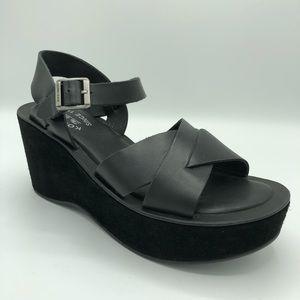 Kork-Ease Ava Leather Wedge Sandals Black